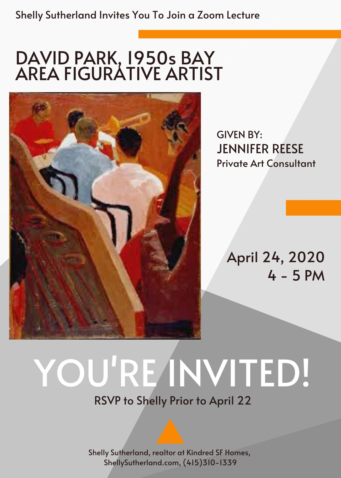 Invitation to join a lecture on David Park, 1950s Bay Area figurative artist