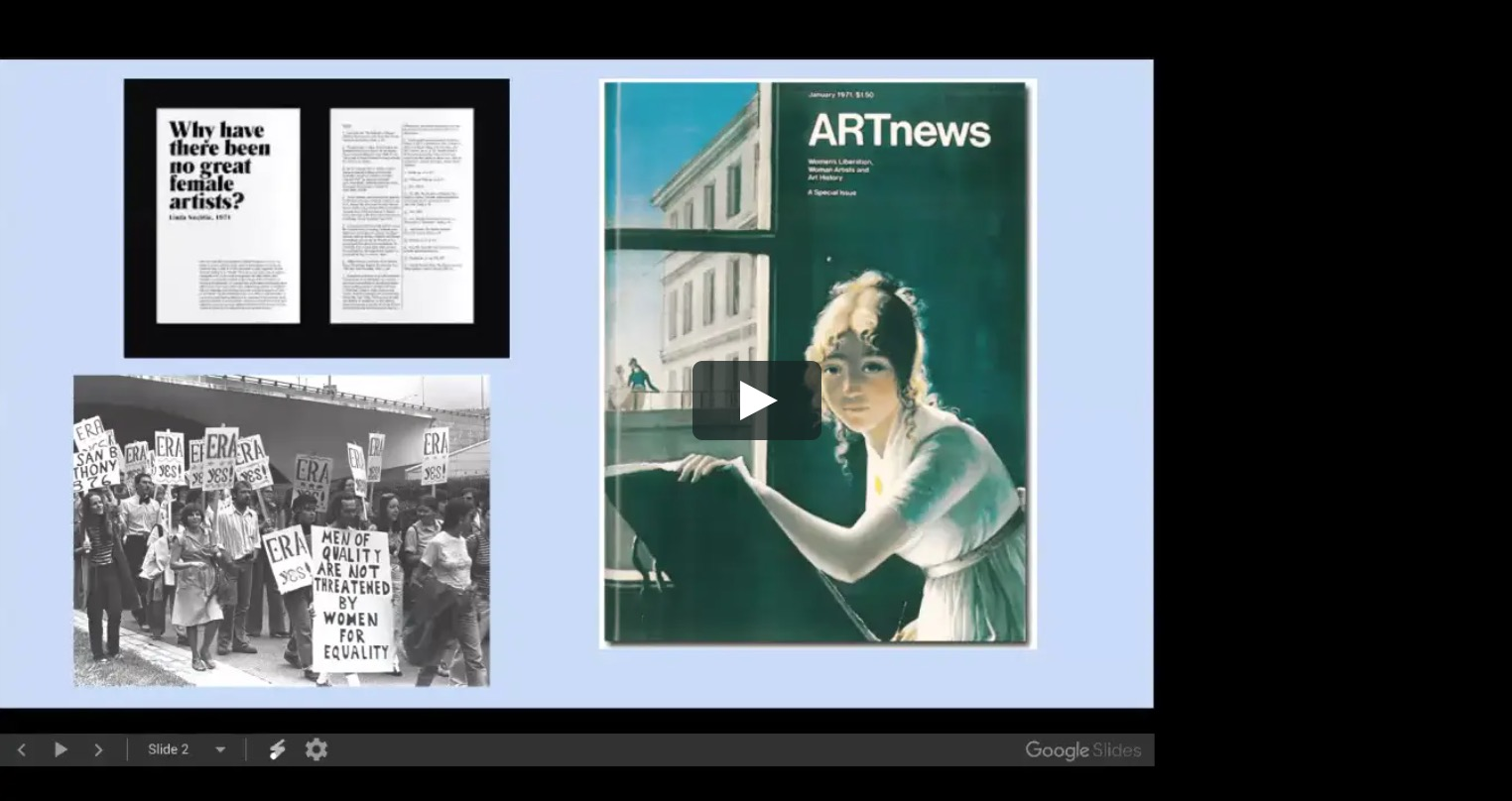 Video from the lecture on Women in Modern Art